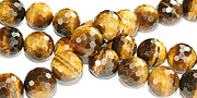 Design 16233: brown,yellow tiger eye faceted beads