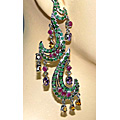 Design 7504: green,purple,yellow ruby earrings