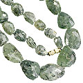 Design 7477: green prehnite tumbled necklaces