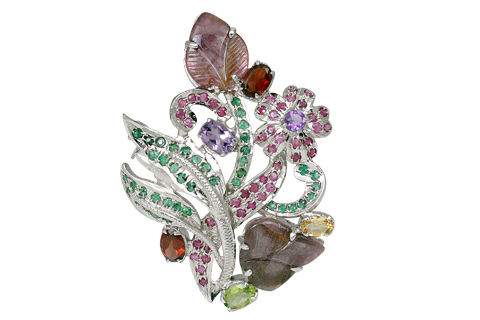 SKU 11641 - a Multi-stone brooches Jewelry Design image