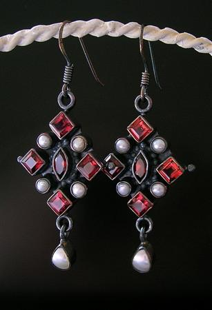 SKU 10237 - a Garnet earrings Jewelry Design image