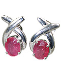Design 10519: Pink ruby art-deco, post earrings