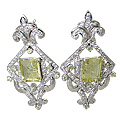 Design 11526: White, Green lemon quartz earrings