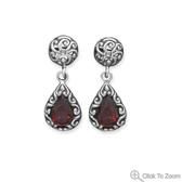 Design 21847: red garnet drop earrings
