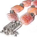 Design 9756: pink agate contemporary, religious necklaces
