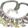 Design 9852: purple,yellow multi-stone choker, contemporary necklaces