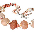Design 9863: brown pink opal chipped, chunky, contemporary, multistrand, tumbled necklaces