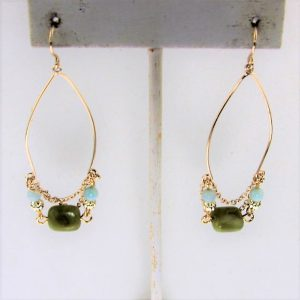 18 Karat Gold Plated Brass Earring with Green Agate and Amazonite