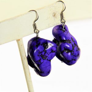 Howlite Purple Stone Earring