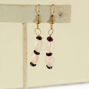 Rose Quartz Rhodolite Beaded Earrings