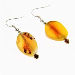 Yellow Jade Beaded Earrings