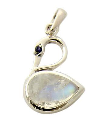 Moonstone And Iolite Swan Pendant