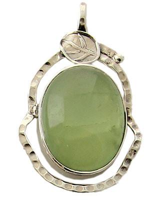 Prehnite Silver Leaf Pendant