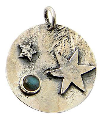 Celestial Silver Pendant With Labradorite