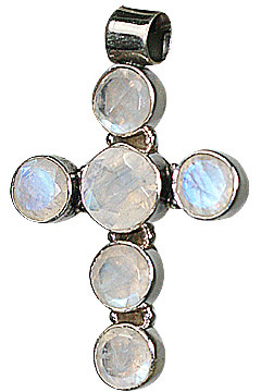 White Moonstone Silver Setting Cross Pendants 1.5 Inches