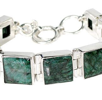 Green Emerald Silver Setting Bracelets 8 Inches
