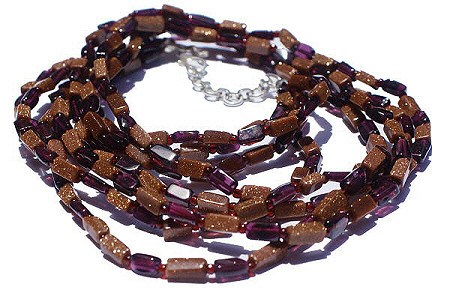 Brown Red Goldstone Garnet Beaded Multistrand Necklaces 17 Inches