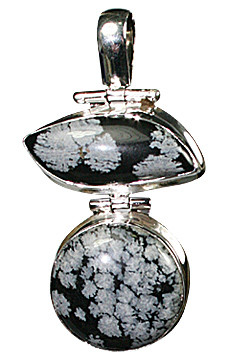 Black Gray Obsidian Silver Setting Pendants 1.75 Inches
