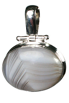 Gray White Agate Silver Setting Pendants 1.25 Inches