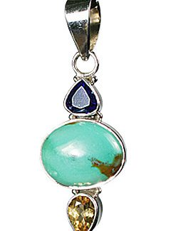 Blue Purple Yellow Turquoise Amethyst Silver Setting Drop Pendants 1.75 Inches