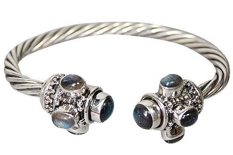 Blue Gray White Labradorite Silver Setting Ethnic Bracelets 8 Inches