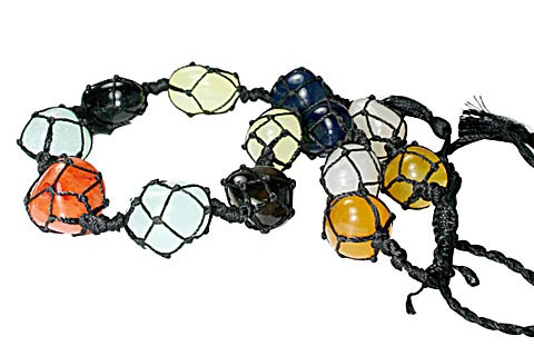 Multi-color Chalcedony Multi-stone Beaded Chunky Necklaces 17 Inches