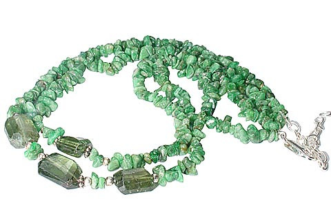 Green Jasper Onyx Beaded Chipped Necklaces 15 Inches