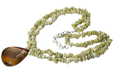 Brown Green Jasper Fluorite Beaded Chipped Necklaces 15 Inches