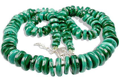 Green Malachite Beaded Staff-picks Necklaces 24 Inches