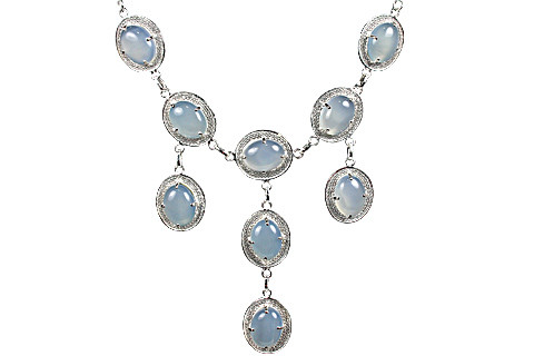 Blue Chalcedony Silver Setting Necklaces 19 Inches