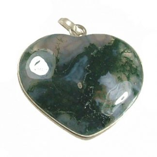 Green Gray Moss Agate Silver Setting Heart Pendants 1 Inches