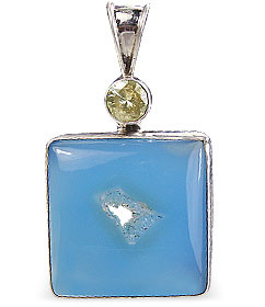 Art-deco Chalcedony Pendants
