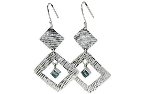 Art-deco Blue Topaz Earrings