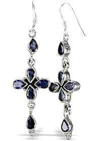 Faceted Iolite Cross Earrings