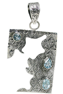 Blue White Blue Topaz Silver Setting Art-deco Pendants 1.75 Inches