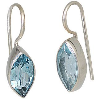 Blue Blue Topaz Silver Setting Earrings 0.75 Inches