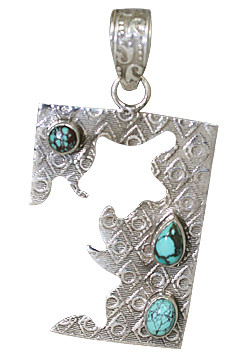 Blue Turquoise Silver Setting Art-deco Pendants 1.5 Inches