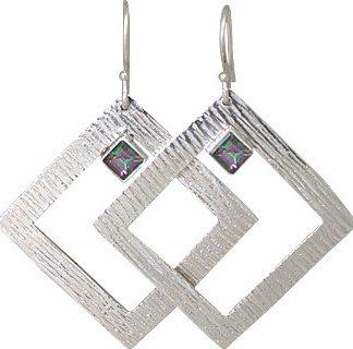 Multi-color Mystic Quartz Silver Setting Earrings 1.75 Inches