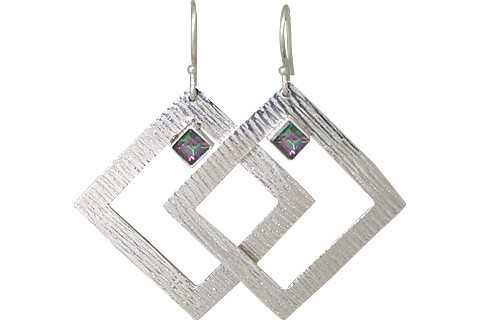 Multi-color Mystic Quartz Silver Setting Earrings 1.75 Inches
