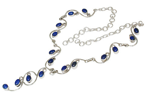 Blue Lapis Lazuli Silver Setting Necklaces 17 Inches