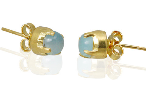 Blue Chalcedony Vermeil Gold Plated Post Earrings 6 Inches