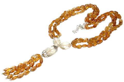 Yellow Citrine Beaded Multistrand Necklaces 18 Inches