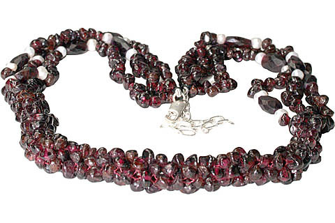Red Garnet Pearl Beaded Necklaces 15 Inches