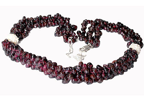 Garnet Necklace with faceted drop shaped beads