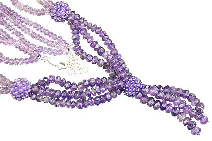 Purple Amethyst Beaded Multistrand Necklaces 15 Inches