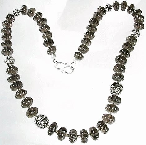 Gray Smoky Quartz Beaded Necklaces 17 Inches