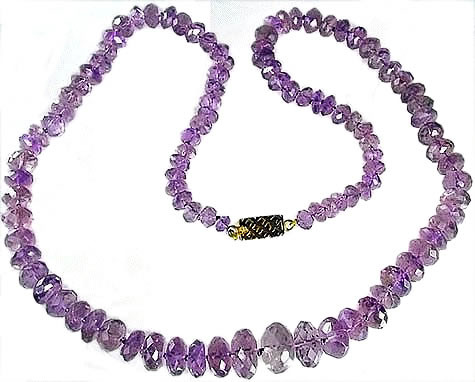 Purple Amethyst Beaded Chunky Necklaces 24 Inches