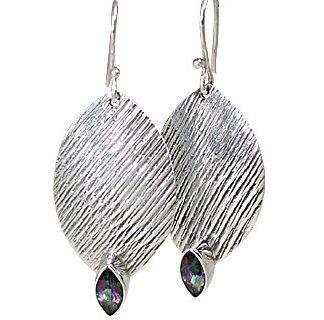 Blue Pink Mystic Quartz Silver Setting Earrings 1.5 Inches