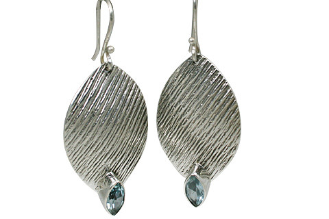 Blue Blue Topaz Silver Setting Earrings 1.5 Inches