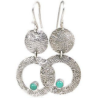 Green Turquoise Silver Setting Earrings 2 Inches